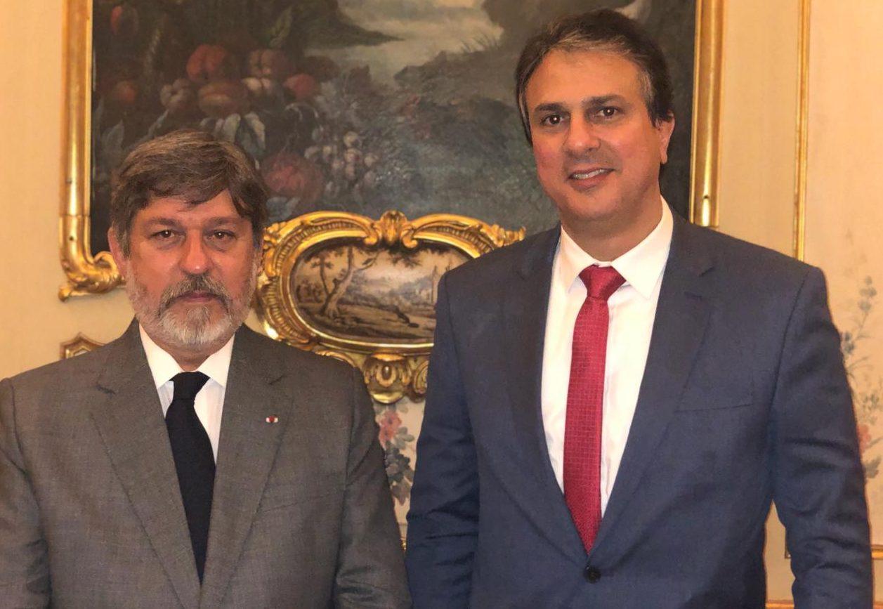 Camilo Santana esteve reunido, com o Embaixador do Brasil na França