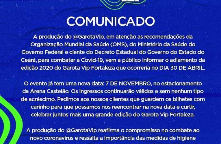 COMUNICADO – GAROTA VIP FORTALEZA 2020