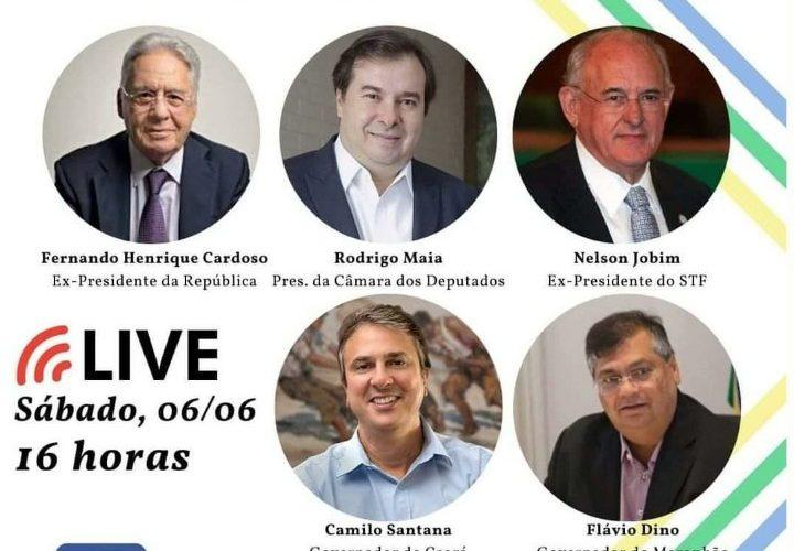 O governador do Ceará, Camilo Santana participa de live do movimento 'Direitos Já!' junto com Fernando Henrique Cardoso e Rodrigo Maia