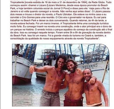 Há exatos 26 anos estreava na telinha a novela Tropicaliente gravada no Ceará sucesso na época