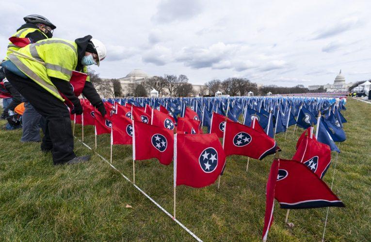 Campo com 200 mil bandeiras representar público ausente na posse de Joe Biden e Kamala Harris